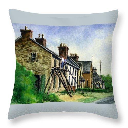 Irish Throw Pillow featuring the painting Gutter repair Port Rush Ireland by Jim Gola