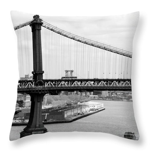 Manhattan Throw Pillow featuring the photograph Manhattan Bridge Span by Mickael Sherrill