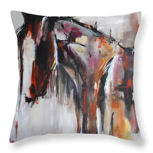 Horse Throw Pillow featuring the painting Gypsy by Cher Devereaux