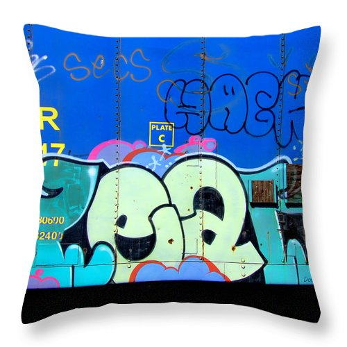Graffiti Throw Pillow featuring the photograph Hack by Donna Blackhall