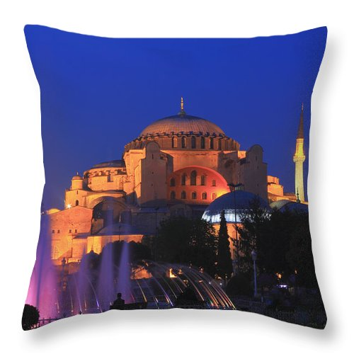 Architecture Throw Pillow featuring the photograph Hagia Sophia At Night Istanbul Turkey by Ivan Pendjakov