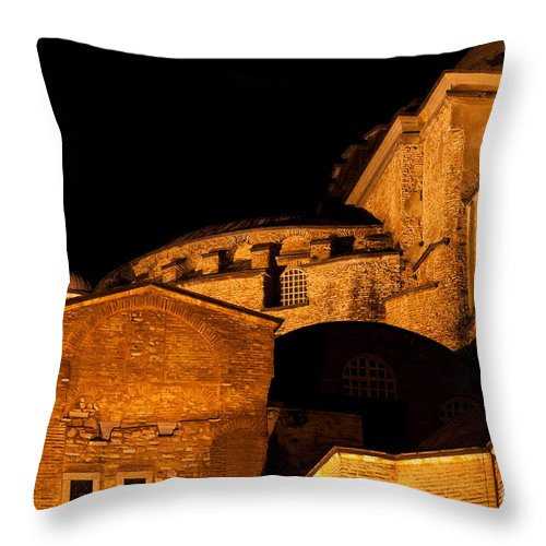 Istanbul Throw Pillow featuring the photograph Hagia Sophia At Night by Rick Piper Photography