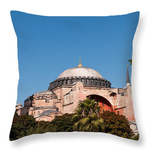 Istanbul Throw Pillow featuring the photograph Hagia Sophia Blue Sky 01 by Rick Piper Photography