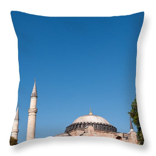 Istanbul Throw Pillow featuring the photograph Hagia Sophia Blue Sky 02 by Rick Piper Photography