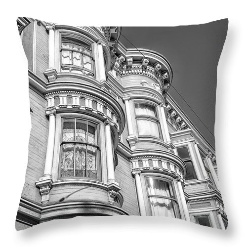 San Francisco Throw Pillow featuring the photograph Haight Street Windows Bw by Jerry Fornarotto