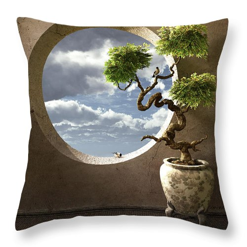 Window Throw Pillow featuring the digital art Haiku by Cynthia Decker