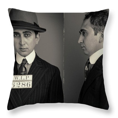 Guilt Throw Pillow featuring the photograph Hakan The Boss Wanted Mugshot by Nick Dolding