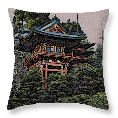 Japanese Throw Pillow featuring the photograph Hakoni Tea House by Jacklyn Duryea Fraizer