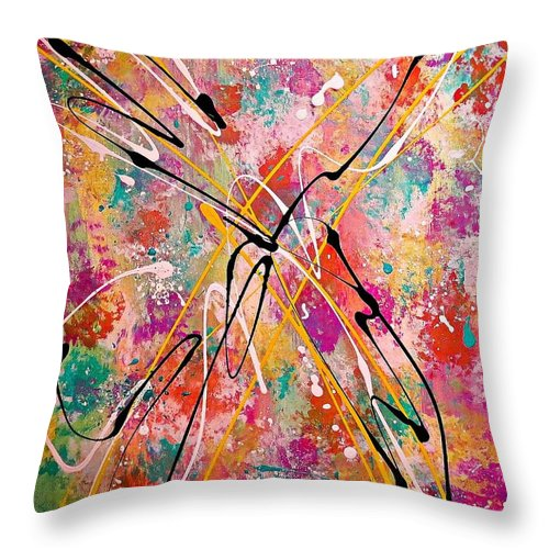 Abstract Throw Pillow featuring the painting Halcyon by Emily Moize