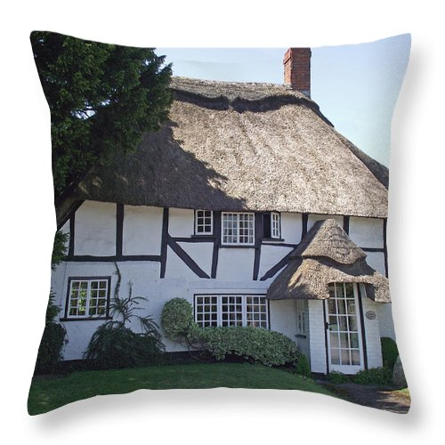 Thatched Cottage Throw Pillow featuring the photograph Half-timbered Thatched Cottage by Jayne Wilson