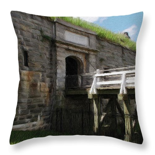 Canadian Throw Pillow featuring the painting Halifax Citadel by Jeffrey Kolker