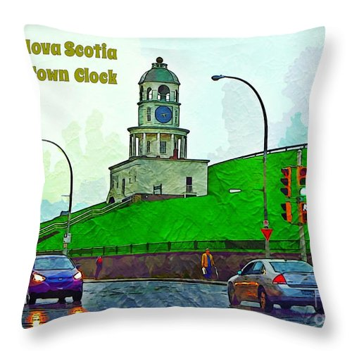 Halifax Historic Town Clock Poster Throw Pillow featuring the photograph Halifax Historic Town Clock Poster by Halifax photographer John Malone