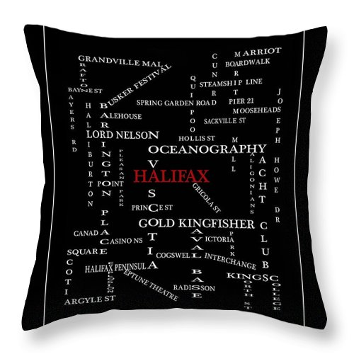 Halifax Nova Scotia Crosswords Red Throw Pillow featuring the digital art Halifax Nova Scotia Crosswords Red by Barbara Griffin