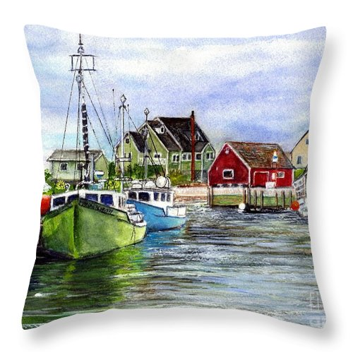 Peggy's Cove Framed Prints Throw Pillow featuring the painting Peggys Cove Nova Scotia Watercolor by Carol Wisniewski