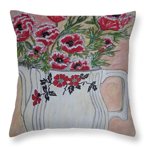Hall China Throw Pillow featuring the painting Hall China Red Poppy And Poppies by Kathy Marrs Chandler