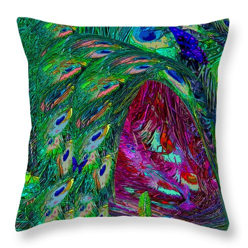Fairy Throw Pillow featuring the digital art Hall Of Fairies Feather Dance by Michele Avanti