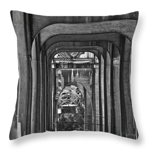 Seattle Throw Pillow featuring the photograph Hall Of Giants - Beneath The Aurora Bridge by Allen Sheffield