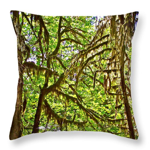 Hall Of Mosses In Hoh Rain Forest In Olympic National Park Throw Pillow featuring the photograph Hall Of Mosses In Hoh Rain Forest In Olympic National Park-washington by Ruth Hager