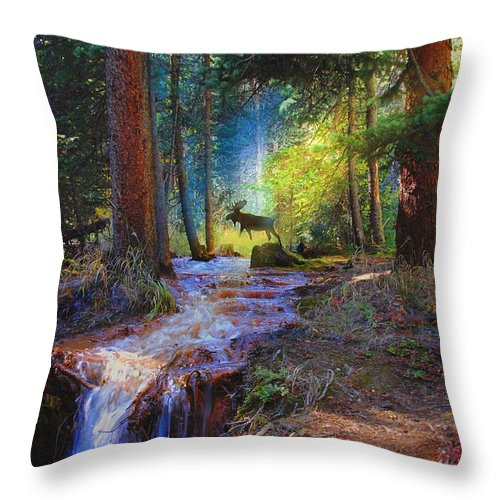 Wildlife Throw Pillow featuring the digital art Hall Valley Moose by J Griff Griffin