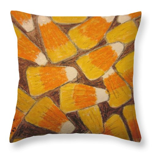 Halloween Throw Pillow featuring the painting Halloween Candy Corn by Kathy Marrs Chandler
