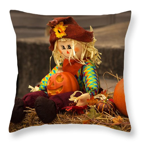 Fall Throw Pillow featuring the photograph Halloween Doll by Iris Richardson