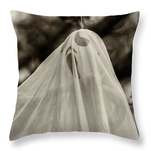 Iris Holzer Richardson Throw Pillow featuring the photograph Halloween Goast Sepia by Iris Richardson