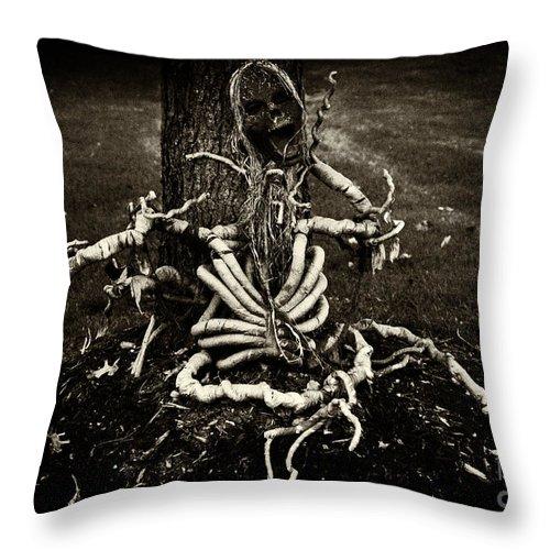 Iris Holzer Richardson Throw Pillow featuring the photograph Halloween Green Skeleton Vinette Black And White by Iris Richardson