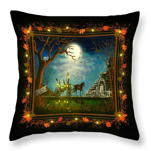 Witch Throw Pillow featuring the painting Halloween Honeymoon  by Christine Altmann