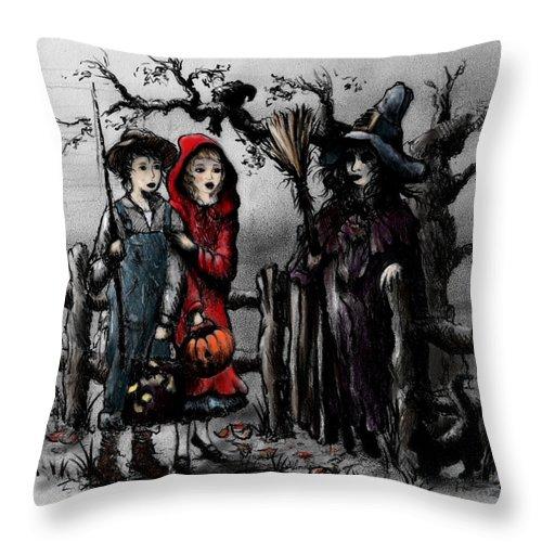 Halloween Throw Pillow featuring the drawing Halloween Night by Rachel Christine Nowicki