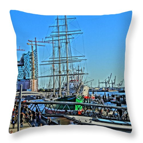 Hamburg Throw Pillow featuring the painting Hamburg Germany Sail Boat With Elbphilharmonie by M Bleichner