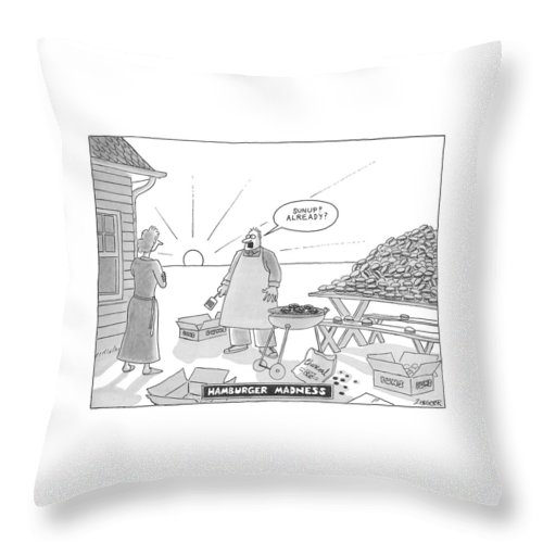 (man Cooks A Huge Pile Of Hamburgers On A Charcoal Grill Throw Pillow featuring the drawing Hamburger Madness by Jack Ziegler