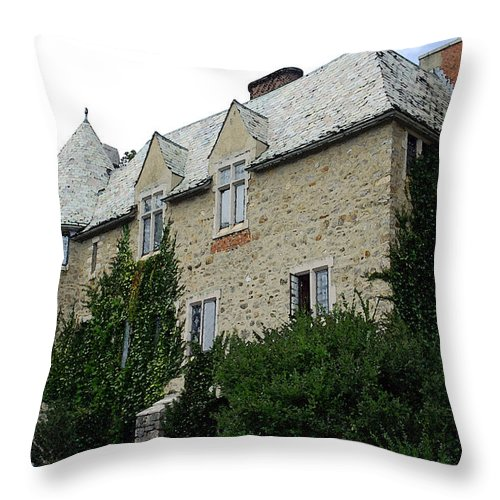 Hammond Castle Throw Pillow featuring the photograph Hammond Castle - Watercolor by Suzanne Gaff