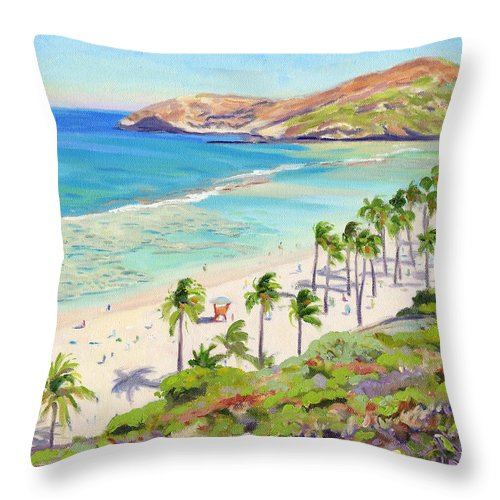Hanauma Bay Throw Pillow featuring the painting Hanauma Bay - Oahu by Steve Simon