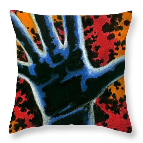 Hand Throw Pillow featuring the drawing Hand 2 by Matthew Howard