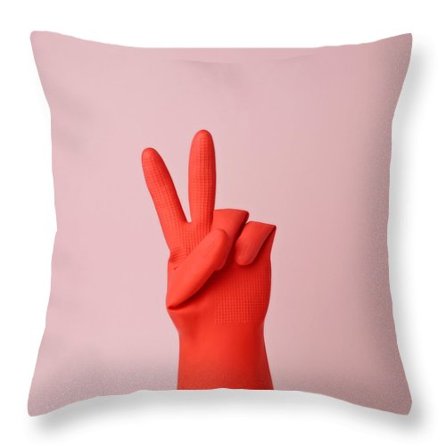 Washing Up Glove Throw Pillow featuring the photograph Hand In Red Rubber Glove Making Peace by Juj Winn