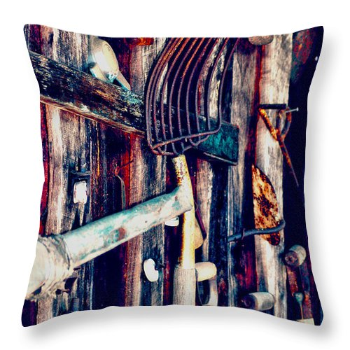 Farm Throw Pillow featuring the photograph Handles And The Pitchfork by Lesa Fine