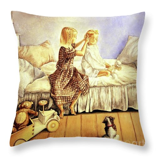 Animals Throw Pillow featuring the painting Hands Of Devotion - Childhood by Linda Simon