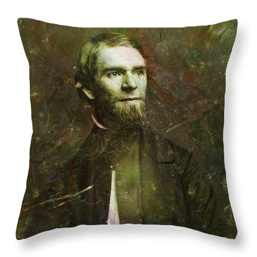 Daguerrotype Throw Pillow featuring the painting Handsome Fellow 2 by James W Johnson