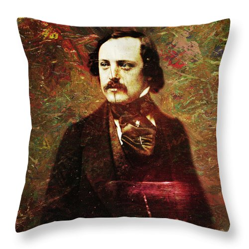 Daguerrotype Throw Pillow featuring the painting Handsome Fellow 5 by James W Johnson