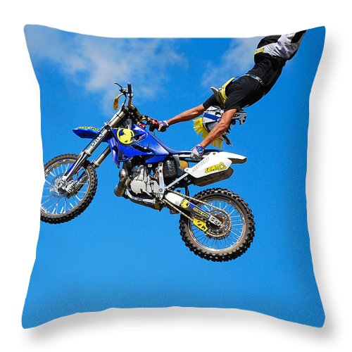 Bmx Freestyle Throw Pillow featuring the photograph Handstand by Mark Spearman
