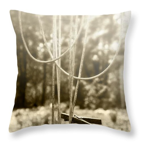 Old Clothes Line Throw Pillow featuring the photograph Hang It Up by Kristie Bonnewell