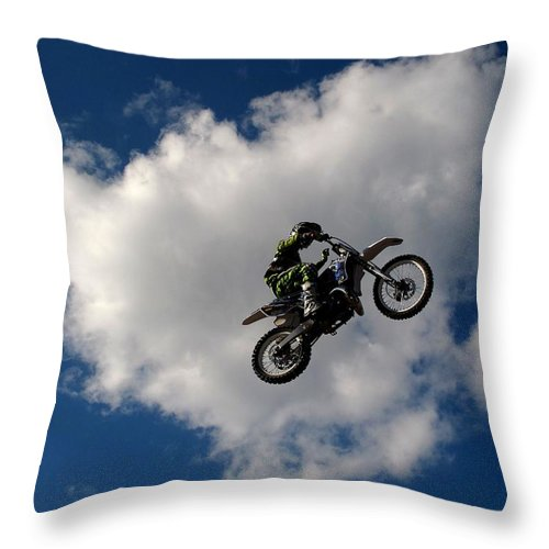 Motorcycle Throw Pillow featuring the Hang Time by Donnie Freeman