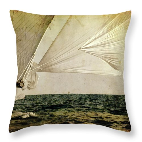 Tall Throw Pillow featuring the photograph Hanged On Wind In A Mediterranean Vintage Tall Ship Race by Pedro Cardona Llambias