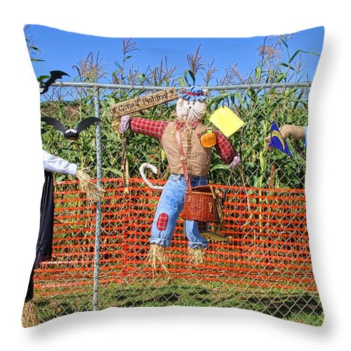 Pumpkin Throw Pillow featuring the photograph Hanging For Halloween By Diana Sainz by Diana Raquel Sainz