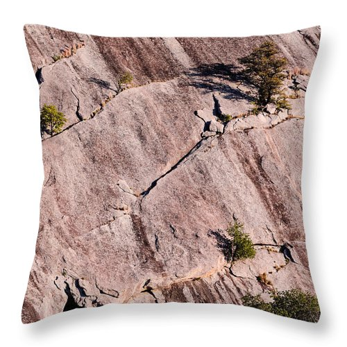 Enchanted Rock Throw Pillow featuring the photograph Hanging On To Dear Life - Enchanted Rock State Natural Area - Fredericksburg Llano by Silvio Ligutti