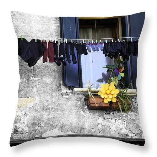 Laundry Throw Pillow featuring the photograph Hanging Out To Dry In Venice 2 by Madeline Ellis