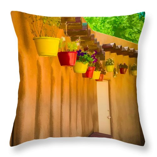 Bob And Nancy Kendrick Throw Pillow featuring the photograph Hanging Pots - Watercolor by Bob and Nancy Kendrick