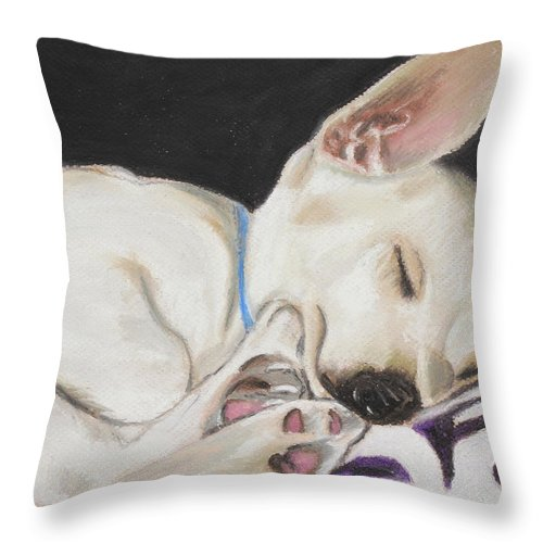 Mammal Throw Pillow featuring the painting Hanks Sleeping by Jeanne Fischer