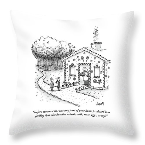 Hansel And Gretel Approach A Witch's Gingerbread Throw Pillow