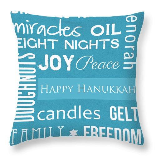 Hanukkah Throw Pillow featuring the mixed media Hanukkah Fun by Linda Woods